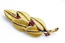 gm leaf shape Ruby Brooch Pin Vintage 18 K Yellow gold 9.7