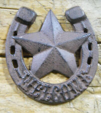 Cast Iron Horseshoe Star Welcome Cowboy Plaque Sign Rustic Ranch Wall Decor