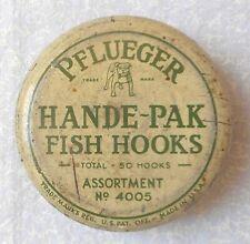 VINTAGE PFLUEGER HANDE PAK FISH HOOKS CAN