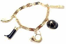 Rare! Authentic Hermes Enamel Equestrian Charm 18k Yellow Gold Link Bracelet