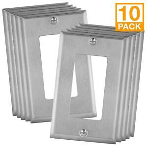 ENERLITES Decorator GFCI Stainless Steel Wall Plate Outlet Cover 10 Pack