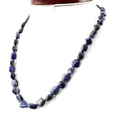 181.50 CTS NATURAL SINGLE STRAND UNTREATED RICH BLUE TANZANITE BEADS NECKLACE