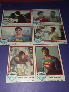Lot of 6 SUPERMAN THE MOVIE 1978 Topps Trading Cards #4, 32, 35, 45, 49 + 57