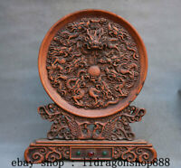 "14"" Ancien Chine Huanghuali Bois Dynastie Neuf Dragon Bead Paravent Statue"