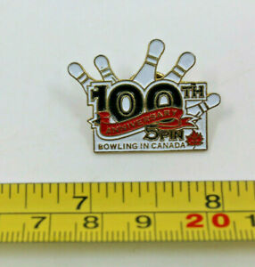 Bowling 100th Anniversary 5 Pin Bowling in Canada Collectible Pin Red Maple Leaf
