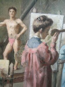"""1900s Oil Painting Women in Art Class, Drawing Semi Nude Man, Unsigned 26 x 19"""""""
