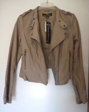 Stylish Just Jeans Taupe Soft Leather Jacket. Brand New!! Ladies Size 6. RRP$199