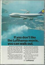 1970 LUFTHANSA advertisement, Boeing 747 in flight, Euro advert
