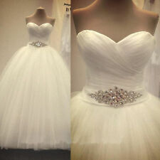 White Ivory A Line Wedding Dresses Bridal Gown Custom 4 6 8 10 12 14 16 18+