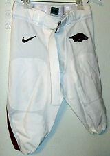 Arkansas Razorbacks Nike Game Worn Football Pants White Red Hog Swoosh Size 34