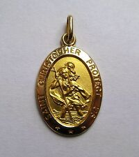 9ct Gold Large Oval St Christopher Pendant 3g Hallmarked