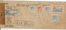 BARBADOS 1944 OHMS MULTI-FRANKED AIR MAIL ENVELOPE SENT TO DETROIT USA SEE SCANS