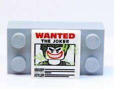 A342 Lego CUSTOM PRINTED 2x2 JOKER WANTED POSTER TILE Lego Batman Movie inspired