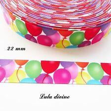 Ruban gros grain blanc Ballon multicolore de 22 mm vendu au mètre
