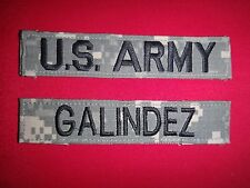 2 Camo ACU Patches: U.S. ARMY Pocket Tape + GALINDEZ Name Tape