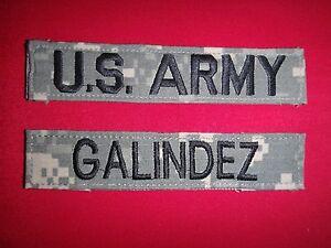 2 Camo ACU Patches: U.S. ARMY Pocket Tape + GALINDEZ Name tape