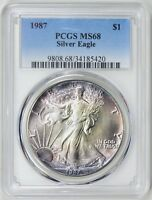 1987 $1 Silver Eagle PCGS MS68 (Blue Label) ( Nicely Toned )