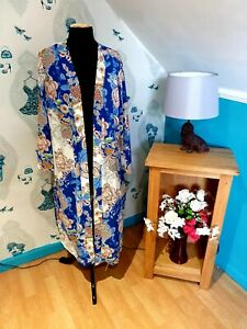 Blue Floral Long Open Front Cover up Cape/Top/Jacket by Wallis, Size 16