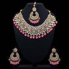 Indian Bollywood Wedding Pink Color Kundan Necklace with Earrings & Maang Tikka
