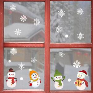 Merry Christmas Window Stickers Snata Snowman Snowflake Xmas Tree Wall Sticker