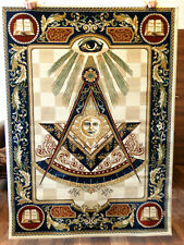 Past Master Masonic Woven Area Rug Wall Tapestry Ring Apron Freemason Lodge