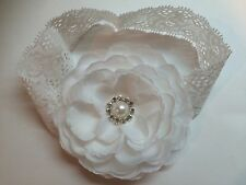 Cute!!! White Baby Girl Lace Headband Flower Hair Bow W/pearl rhinestone.