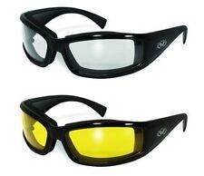 2 Biker Friendly Padded Motorcycle Horseback Glasses Sunglasses Clear Yellow