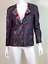 Chanel Charcoal Gray Red Whited Coated Cashmere Striped Cropped Jacket Blazer 44