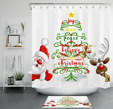 Abstract Xmas Tree Cute Cartoon Santa Reindeer Shower Curtain Set Bathroom Decor