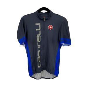 Castelli Cycling Jersey Mens sz L Gray Blue Full Zip Short sleeve