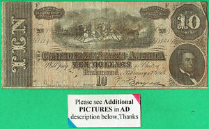 T-68/PF1/CR-540 $10.00 C.S.A./CONFEDERATE STATES of AMERICA BANK NOTE-58 NUMERAL
