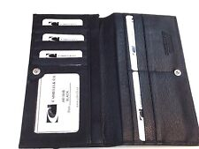 Men Italian Leather Long Breast Wallet Bifold  Cabrelli & Co NWT Black