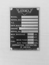 Original Prewar Aeronca Data Plate, Aluminum, Acid Etched, New Old Stock!!!