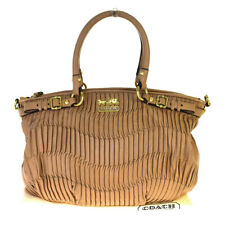 Auth Coach 18620 Leather Handbag Beige 06GC486