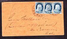 US 7, 7, 8a 1c Franklins on San Fran Cover Pos 28R2, 38R2, 48R2 VF-XF SCV $1125