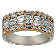 Two Tone Ring In 18k Gold Featuring Round And Baguette Diamond Accents