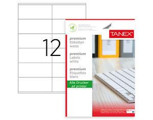 TANEX TW-2612 Etiquetas de Dirección (105 X 48MM) Blanco, 300 Etiquetas, 25 Hoja