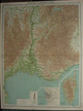 1920 LARGE MAP ~ FRANCE SOUTH-EASTERN SECTION MARSEILLE NIMES ALAIS CORSICA