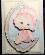 """Handmade""~ADORABLE 3D~PINK LITTLE GIRL THANK YOU CARD~BY D~#TY163"