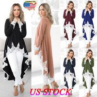 Womens Long Sleeve Lace Ruffles Asymmetrical Casual Tops Shirt Blouse Mini Dress