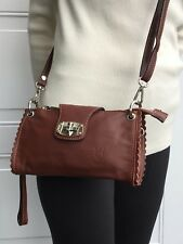 NWT Genuine Italian leather clutch/cross-body handbag solid chocolate brown