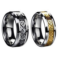 Tungsten Carbide Ring Celtic Dragon Inlay Stainless mens Jewelry Wedding Band