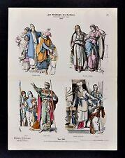 1880 Braun Costume Print Ancient Israel Jewish Dress King Priest Nobles Official