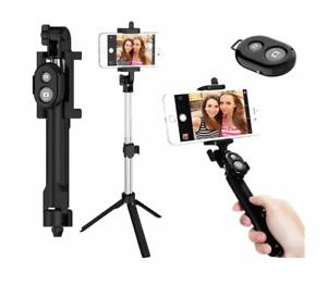 New 3 in 1 Selfie Stick Foldable Monopod Tripod Holder Bluetooth Remote 10m #900