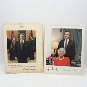 Paire De Vtg Autosigned Autographié Photos Présidents Reagan & Bush 1980's 8x10