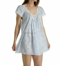 NEW Oscar de la Renta Sleep Shirt Palm Shades Blue White Lace Nightgown  S M L