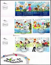 ISRAEL 2013 - ISRAELI MUSIC - CHILDREN'S SONGS - 12 STAMPS WITH TABS ON 3 FDC's
