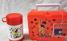 New Red Plastic Lunch Box w/ Thermos Bottle Rabbit Letters Mbr Indust. Hk-00807