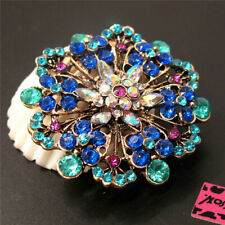 Flower Crystal Charm Brooch Pin Gift New Betsey Johnson Blue Rhinestone Wreath