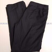 Ann Taylor Wool Dress Pants Women's Size 8P Petites Black Blue Striped Lindsay